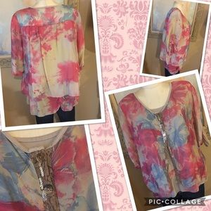 boutique brand Made in Italy beautiful silk top S